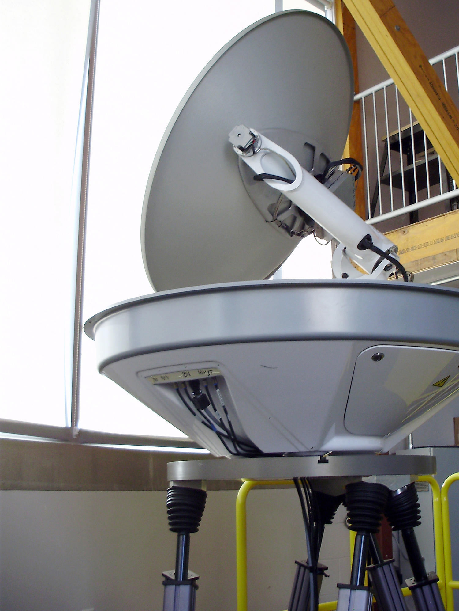 A KVH satellite antenna awaits motion testing.