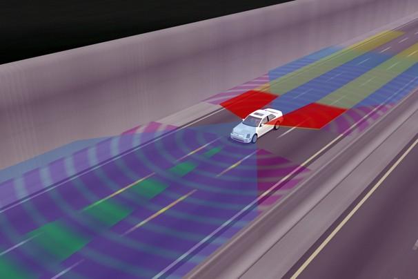 illustration of sensors surrounding driverless car